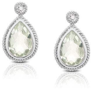 Dolce Giavonna Sterling Silver Gemstone Dangle Earring