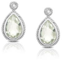 Dolce Giavonna Sterling Silver Gemstone Dangle Earring
