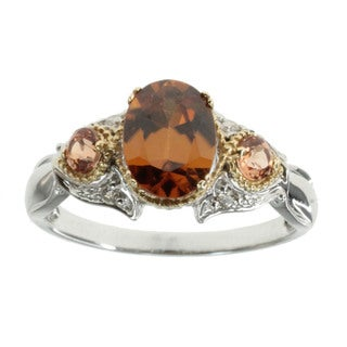 Michael Valitutti Cognac Zircon and Diamond 14k Gold Ring