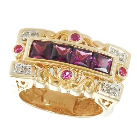 Michael Valitutti 14k Gold Grape Garnet and Pink Sapphire Ring
