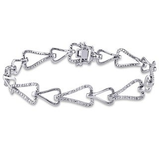 Miadora Signature Collection 14k White Gold 1 1/10ct TDW Diamond Link Bracelet