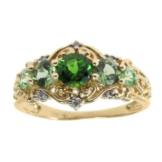 Michael Valitutti 14k Yellow Gold Multi Gemstone Diamond Accent Ring