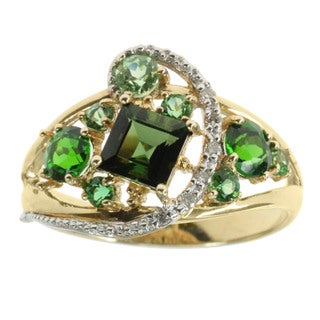 Michael Valitutti Chrome Diopside and Diamond 14k Gold Ring