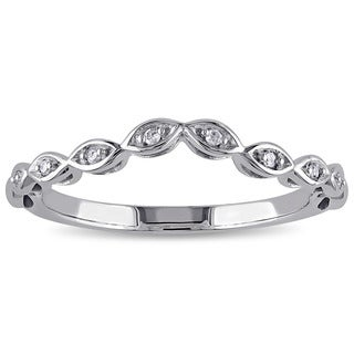 Miadora 10k White Gold Diamond Accent Contour Band