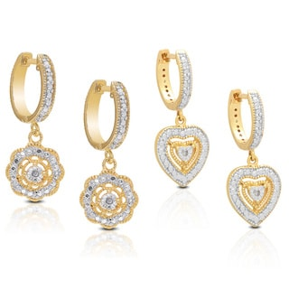 Finesque Gold Overlay Diamond Accent Heart and Flower Earring Set