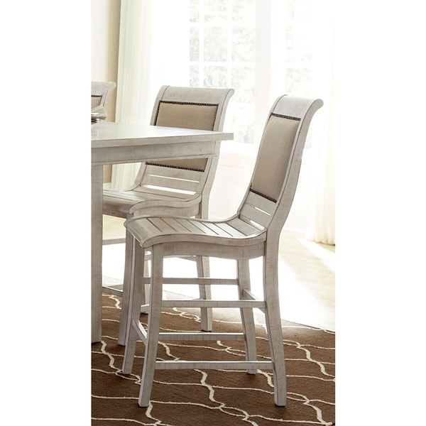 Charmant Willow Distressed White Counter Dining Chairs (Set Of 2)