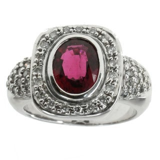 Michael Valitutti 14k Rubelite And Diamond Ring