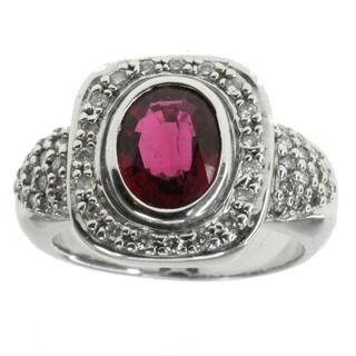 Michael Valitutti 14k Rubelite And Diamond Ring