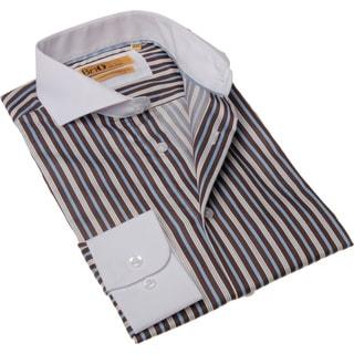 BriO Milano Men's Brown/ Blue Button Down Dress Shirt