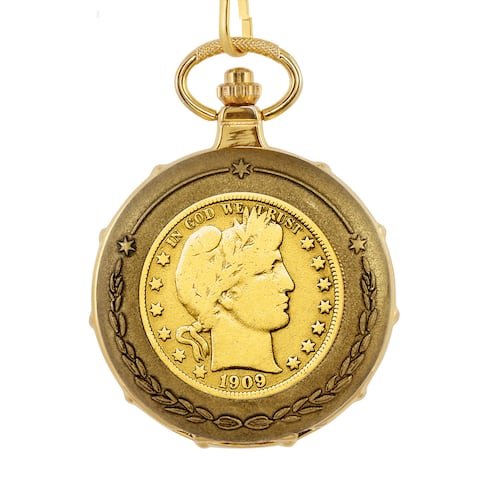 American Coin Treasures Men's Goldplated Barber Half Dollar Train Pocket Watch