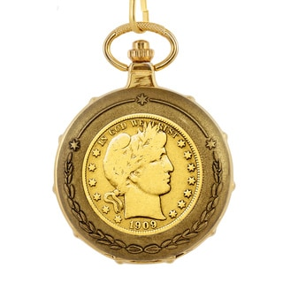 American Coin Treasures Men's 13233 Goldplated Barber Half Dollar Train Pocket Watch