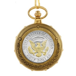 American Coin Treasures Men's 13222 Selectively Presidential Seal Half Dollar Goldtone Train Pocket