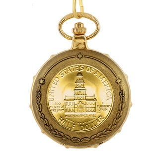 American Coin Treasures Men's 13229 JFK Bicentennial Half Dollar Goldtone Train Pocket Watch with Sk