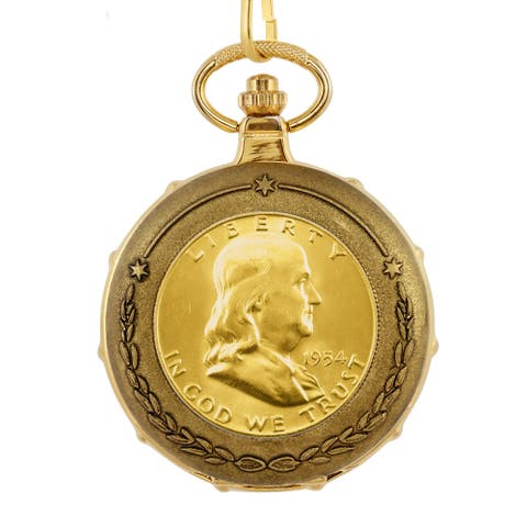 American Coin Treasures Men's 13231 Goldplated Franklin Half Dollar Train Pocket Watch