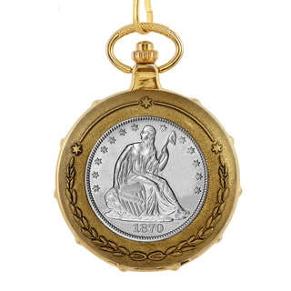 American Coin Treasures Men's 13226 Silver Seated Liberty Half Dollar Train Pocket Watch with Skelet