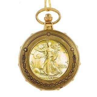 American Coin Treasures Men's 13227 Goldplated Silver Walking Liberty Half Dollar Train Pocket Watch