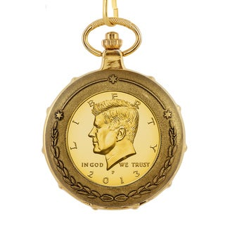 American Coin Treasures Men's 13228 Goldplated JFK Half Dollar Train Pocket Watch with Skeleton Move