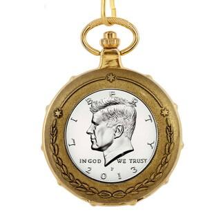 American Coin Treasures Men's 13221 Proof JFK Half Dollar Goldtone Train Pocket Watch with Skeleton