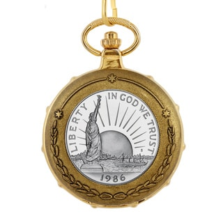 American Coin Treasures Statue of Liberty Half Dollar Goldtone Train Pocket Watch
