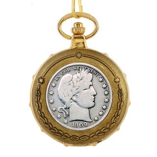 American Coin Treasures Silver Barber Half Dollar Goldtone Train Pocket Watch