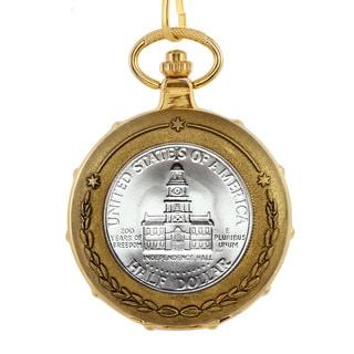 American Coin Treasures JFK Bicentennial Half Dollar Goldtone Train Pocket Watch