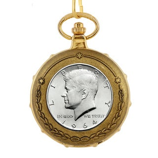 American Coin Treasures JFK 1964 First Year of Issue Half Dollar Goldtone Train Pocket Watch