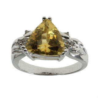 Michael Valitutti Yellow Beryl and Diamond Ring