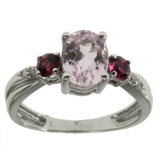 Michael Valitutti Kunzite, Tourmaline and Diamond Ring