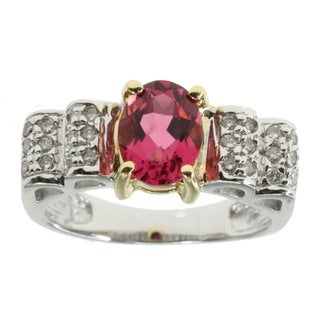 Michael Valitutti 18k Gold Pink Tourmaline And diamond Ring