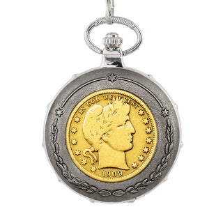 American Coin Treasures Gold-Plated Silver Barber Half Dollar Silvertone Train Pocket Watch