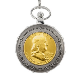 American Coin Treasures Gold-Plated Silver Franklin Half Dollar Silvertone Train Pocket Watch
