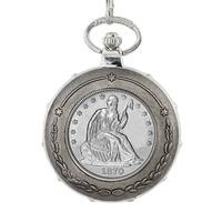 American Coin Treasures Silver Seated Liberty Half Dollar Silvertone Train Pocket Watch