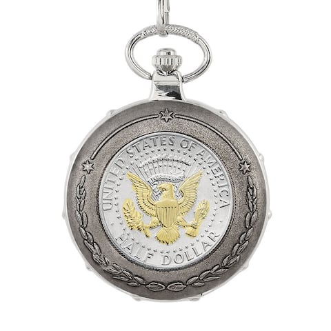 American Coin Treasures Gold-Plated Presidential Seal Half Dollar Silvertone Train Pocket Watch