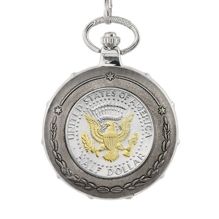 American Coin Treasures Gold-Plated Presidential Seal Half Dollar Silvertone Train Pocket Watch