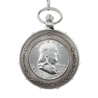 American Coin Treasures Silver Franklin Half Dollar Silvertone Train Pocket Watch