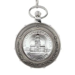 American Coin Treasures JFK Bicentennial Half Dollar Silvertone Train Pocket Watch