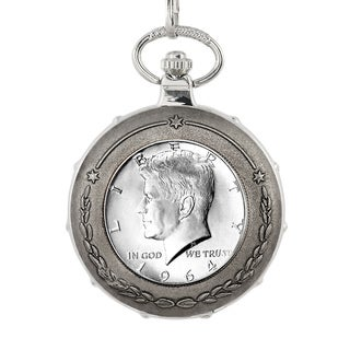 American Coin Treasures JFK 1964 First Year Half Dollar Silvertone Train Pocket Watch