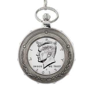 American Coin Treasures Proof JFK Half Dollar Silvertone Train Pocket Watch