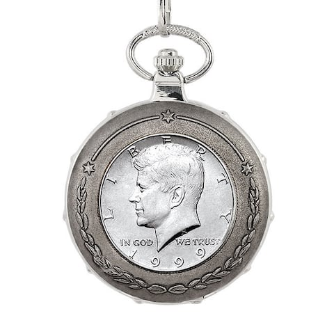 American Coin Treasures JFK Half Dollar Silvertone Train Pocket Watch
