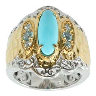 Michael Valitutti Palladium Silver Turquoise and Zircon Ring