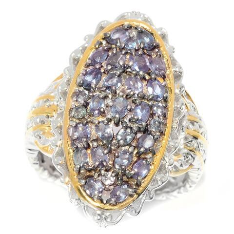 Michael Valitutti Palladium Silver Colour Change Garnet Elongated Cluster Ring