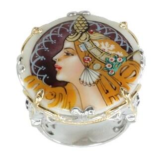 Michael Valitutti Palladium Silver Painted Shell 'Maiden Warrior' Ring
