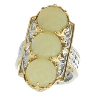 Michael Valitutti Palladium Silver Yellow Opal Ring