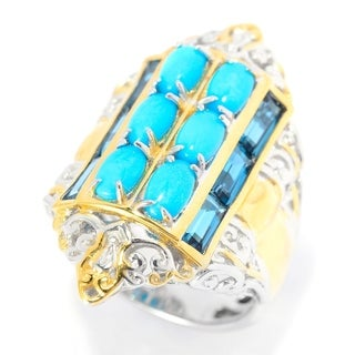 Michael Valitutti Palladium Silver Turquoise and Topaz Ring