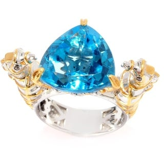Michael Valitutti Sky Blue Topaz and Sapphire 'Seahorse' Ring