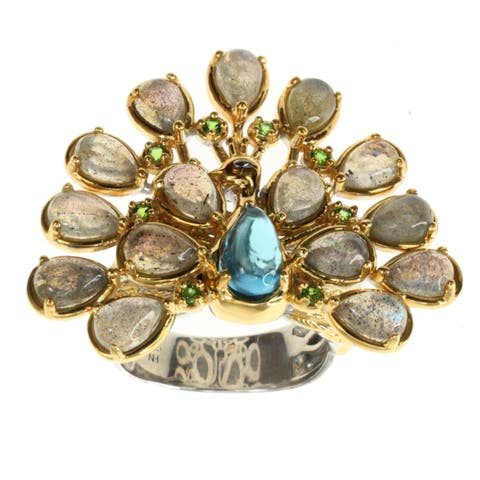 Michael Valitutti Labradoite and Topaz 'Peacock' Ring