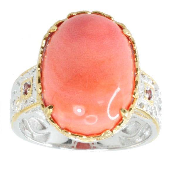 Michael Valitutti Cabochon Salmon Bamboo Coral and Round Orange Sapphire Ring