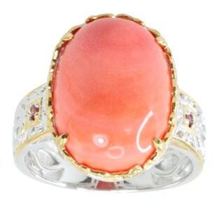 Michael Valitutti Cabochon Salmon Bamboo Coral and Round Orange Sapphire Ring