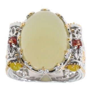 Michael Valitutti Yellow Opal and Sapphire Ring