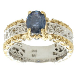 Michael Valitutti Palladium Silver Blue And White Sapphire Ring